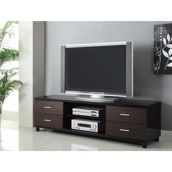 Enticing Wooden tv console with 2 Shelves, Black and Brown