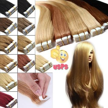 Tape In Skin Weft 100% Remy Human Hair Extensions 50-100g AAAAAA+ 16-22inches (Straight ,curly ,dye,wash)