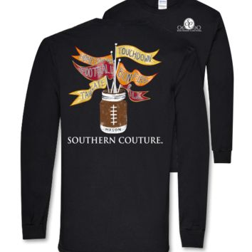 Southern Couture Football Flags Mason Jar Fall Tailgate Long Sleeve T Shirt