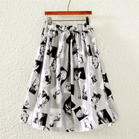 Vintage Marilyn Monroe Print Pleated Midi Skirt