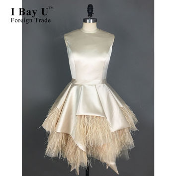 I Bay U Champagne Satin Mini Cocktail Dresses For Young Girls Special Occasion Coctail Dresses For Party  Robe De Cocktail Dress