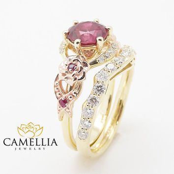 Unique Ruby Engagement Ring Set 14K Two Tone Gold Floral Rings Ruby Ring with Matching Diamond Band