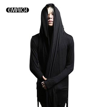 Spring autumn men trench coat male fashion punk hooded mesh splice long sleeve cardigan slim fit jacket men stage Costumes