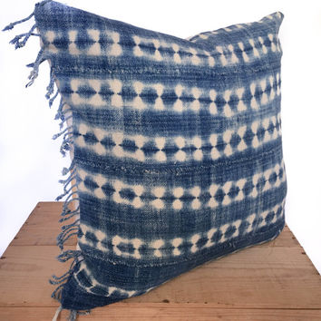 18 Inch Vintage Indigo African Mud Cloth Pillow Cover With Fringe