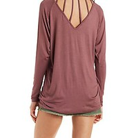 CAGED-BACK LONG SLEEVE TOP
