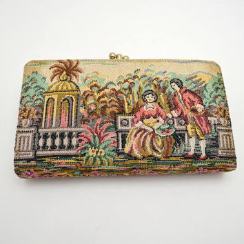Vintage Baronet Needlepoint Wallet, Tapestry Clutch Wallet with Courting Couple, circa 1960s
