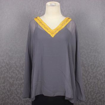 Blouse Short Kaftan Dress Caftan Dress Chiffon Embroidery Farah Kaftan Tops Grey