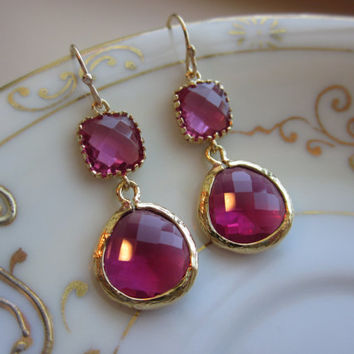Fuchsia Earrings Pink Gold - Bridesmaid Earrings - Bridal Earrings - Wedding Earrings - Valentines Day Gift - Gift under 35