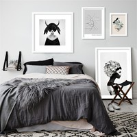 M53 black white Portrait ins painting poster modern decorative painting,unframed wall painting bedroom decoration,home decor art