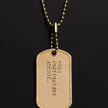 """DEOS FORTIORIBUS ADESSE"" (Latin for The Gods are on the side of the stronger) dog tag necklace"