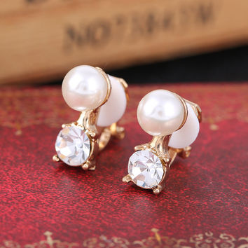 Simulated pearl clip Jewelry non pierced ear clip on earrings with rhinestone for female brincos boucle d'oreille