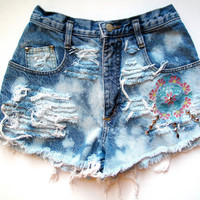 High Waisted/Studded Embroidered & Destroyed/ Blue by RomaniRose