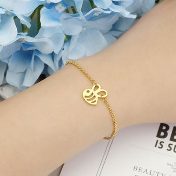 Cool 1PCS- Tiny Honey Bee Bracelet Cute Bumble Bee Bracelet Bumblebee Beehive Wasp Bracelets Queen Bee Bracelets For InsectAT_93_12