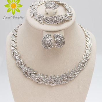 Free Leaves Shape Silver Plated Clear Crystal Jewelry Set New Fashion Wedding Bridal African Costume Jewelry Sets
