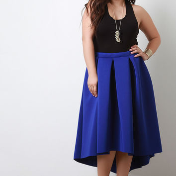 Boxy Pleat High Low Midi Skirt