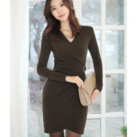 V-neck Women Autumn New Style Korean Style Slim Fashion Long Sleeve Army Green Cotton Dress S/M/L @WH0418agr $20.57 only in eFexcity.com.