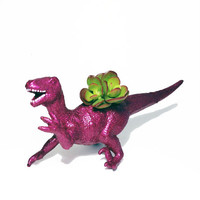 Up-cycled Glittery Pink Velociraptor Dinosaur Planter