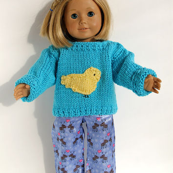 Turquoise Hand Knit Sweater with Yellow Bird for 18 Inch Doll, Pullover for American Girl Doll, Hand Knitted Doll Clothes