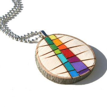 Wood Slice Pendant Necklace, Wood Burned Original Art Colored with Prismacolor Pencils