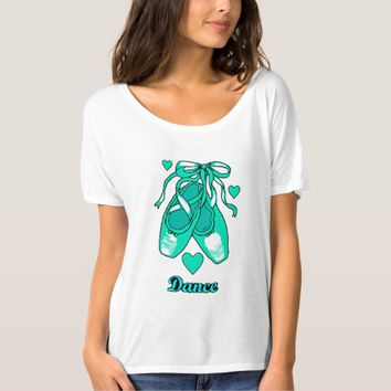 Love Dance Teal Ballet Shoes Women's Boyfriend Tee