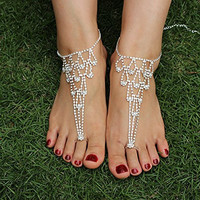 SweetM 2pc Rhinestone Barefoot Sandals Bridemaids Wedding Jewelry Toe Ring Anklets