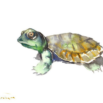 Turtle painting, original watercolor 12 x 9 in, cute yellow green blue brown turtle wall art
