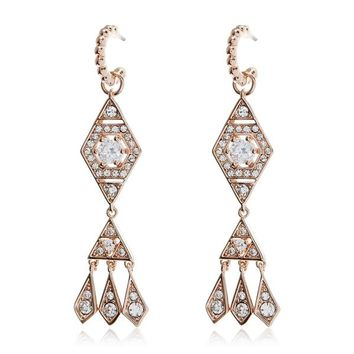 Hanging Pave Kite Earrings - Rose Gold