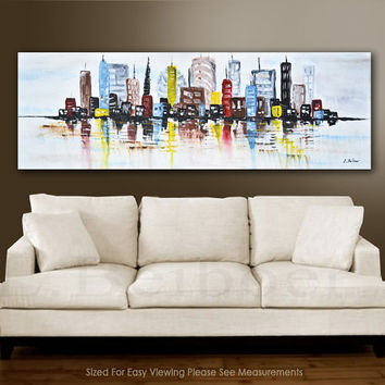 Large abstract painting cityscape original art 5ft colorful modern abstract urban painting 20x60 L.Beiboer FREE SHIPPING
