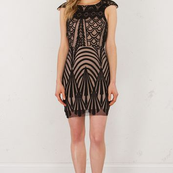 Lace Overlay Dress in Black Nude