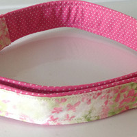 Pink & Green Floral Girl Dog Collar with Pink and White Polka Dots