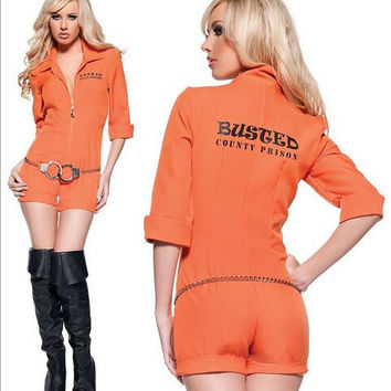Prisoner Costume Women Sexy Convict Orange Halloween