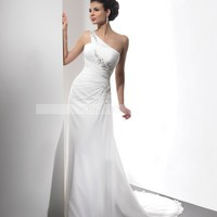 Bridal Party Dresses - A-line One Shoulder Beading Sleeveless Sweep / Brush Train Chiffon Wedding Dresses For Brides@YSP0125 - Beach Wedding Dresses - Wedding Dresses - Wedding Apparel - Affordable Wedding Dresses Manufacturer