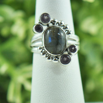 Sanya Fire Labradorite and Amethyst Ring in Sterling Silver