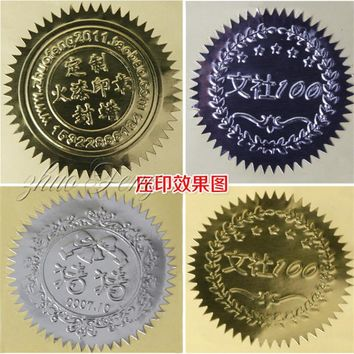 100pcs Stamp stickers for Embossing stamp Gear stickers Round label paper diameter 45mm