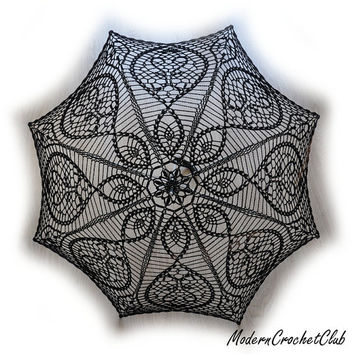 BLACK crochet umbrella,  victorian lace parasol, goth lady or young sexy girl, photo session accesory, steampunk, gothic