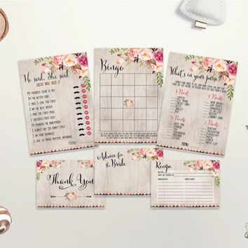 Floral Bridal Shower Games Printable Bridal Shower Games Pack Boho Bridal Shower Games Bundle Bohemian Bridal Party Game Set Digital File