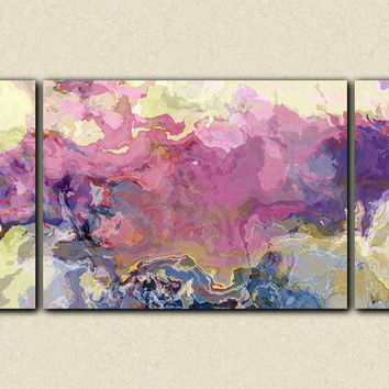"Abstract expressionism large triptych canvas print, 30x60 sofa sized giclee in pink, mauve and purple, from abstract painting ""Pink Tutu"""