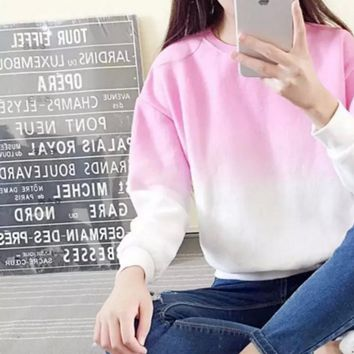 gradient loose Fleece wild small fresh fruit color Mori women casual round neck sweater bottoming