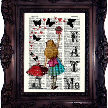 Alice in Wonderland Eat Me. Vintage Dictionary art print. Art Print. Book Page. Art print. Dictionary print. Butterflys. Hearts.Code:022