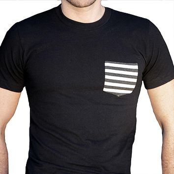 Black with Black & White Stripe Pocket Tee
