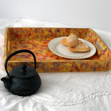 Hand painted wooden serving tray