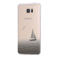 Sailing Boat Seagull Samsung Galaxy S6 Edge Clear Case Galaxy S6 Transparent Case Samsung S5 Hard Cover C024