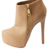 Side-Zip Platform Ankle Booties by Charlotte Russe - Taupe