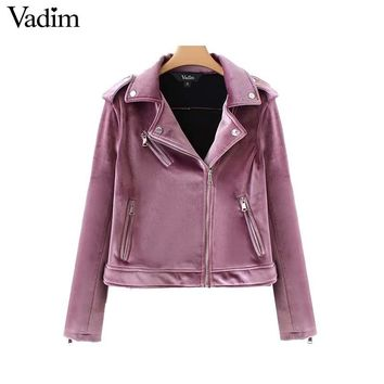 Women velvet vintage short jackets zipper pockets long sleeve chic coat turn down collar casual outerwear tops