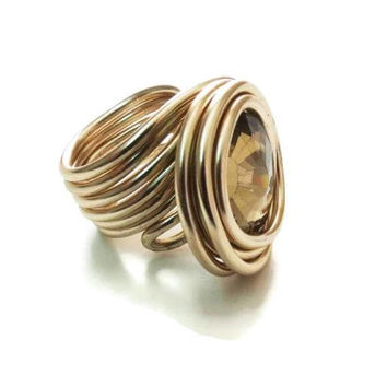 Designer Jewelry, Designer Rings, Handmade Ring, Rose Gold Ring, Adjustable Ring, Statement ring, Wire Wrap Ring, Unique Women Ring, Gift