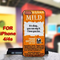 Taco Bell Sauce Packet Sayings For IPhone 4 or 4S Black Case Cover