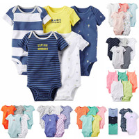 New 2017 Baby Clothing set 5pcs-Pack Short Sleeve Bodysuit for Bebes Boys and Girl Jumpsuit carter Cotton Bodysuit Kids