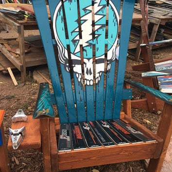 Electic Blue Steal Your Face- Adirondack Colorado Ski Chair