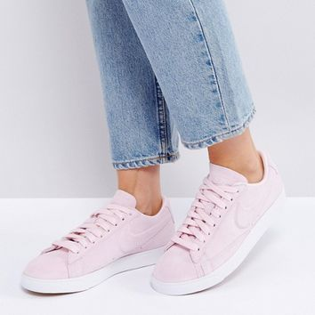 Nike Blazer Low Trainers In Pink Suede at asos.com