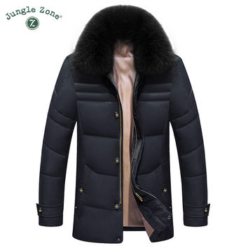 Men's winter coat duck natural fur collar coat new down jacket thick warm duck down jacket zipper jacket